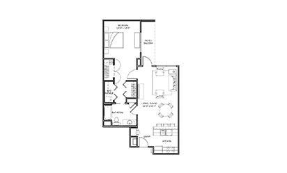 Bluebonnet - 1 bedroom floorplan layout with 1 bath and 816 square feet