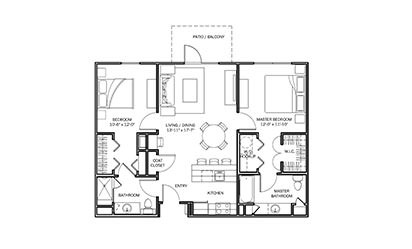 Buttercup - 2 bedroom floorplan layout with 2 bath and 1001 square feet