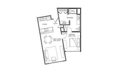 Goldenrod - 1 bedroom floorplan layout with 1 bath and 705 square feet