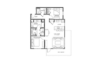 Lantana - 2 bedroom floorplan layout with 2 bath and 1079 square feet