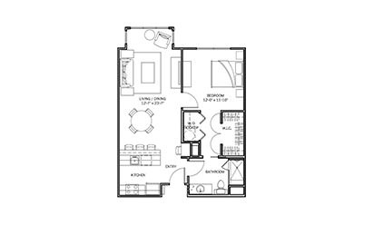 Primrose - 1 bedroom floorplan layout with 1 bath and 751 square feet