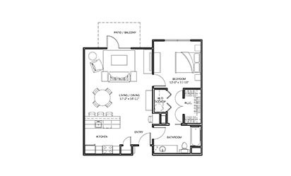 Sunflower - 1 bedroom floorplan layout with 1 bath and 825 square feet