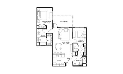 Texas Paintbrush - 2 bedroom floorplan layout with 2 bath and 1079 square feet